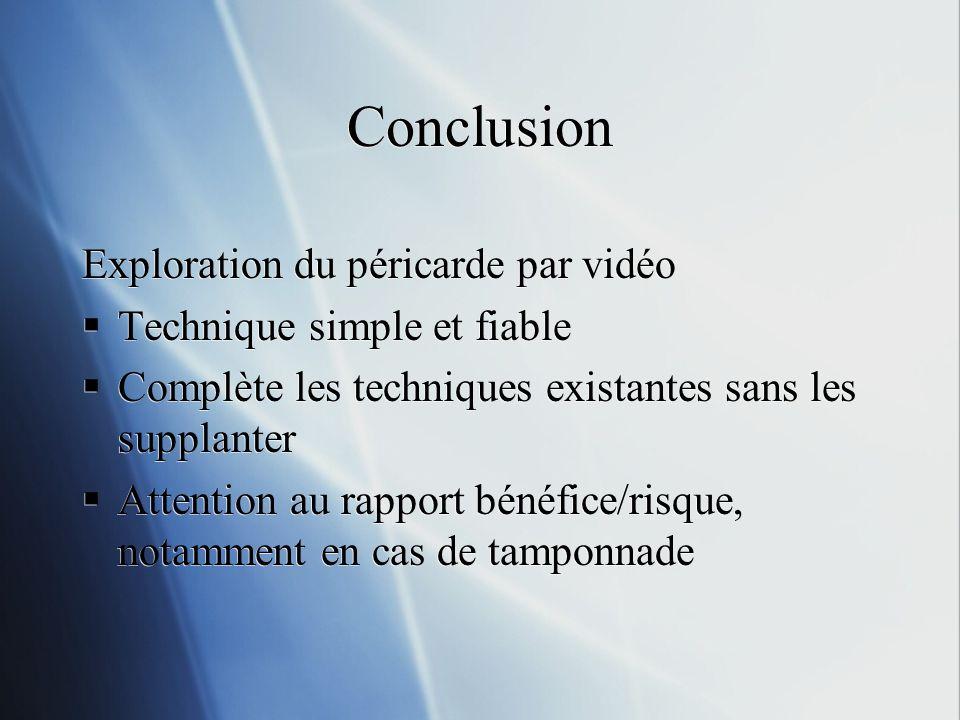Conclusion Exploration du péricarde par vidéo