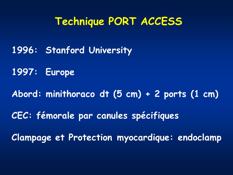 Technique PORT ACCESS 1996: Stanford University 1997: Europe
