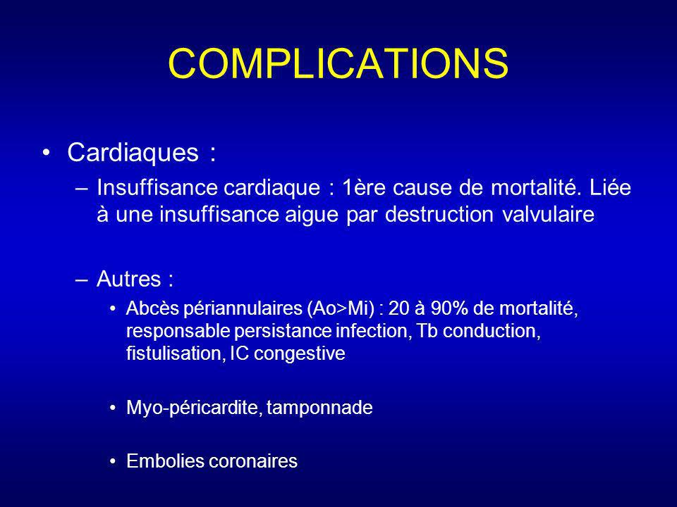 COMPLICATIONS Cardiaques :