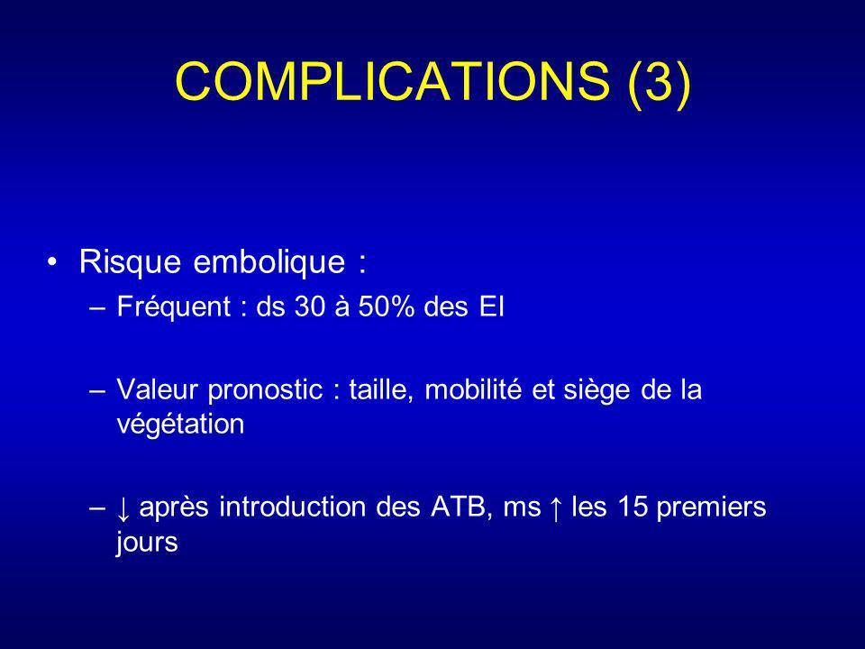 COMPLICATIONS (3) Risque embolique : Fréquent : ds 30 à 50% des EI