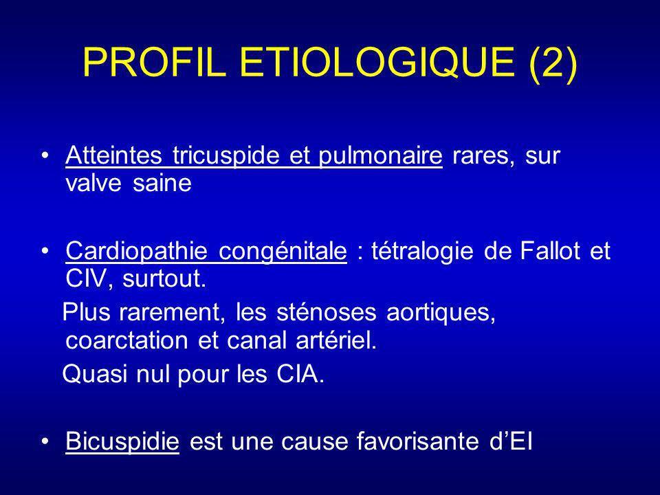 PROFIL ETIOLOGIQUE (2) Atteintes tricuspide et pulmonaire rares, sur valve saine. Cardiopathie congénitale : tétralogie de Fallot et CIV, surtout.
