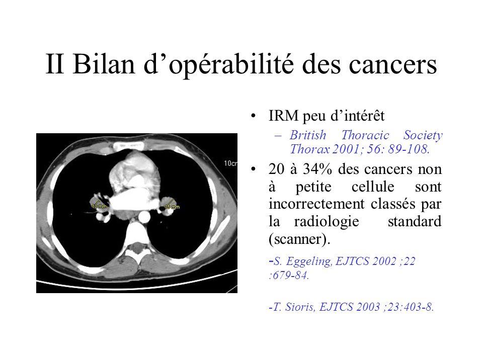 II Bilan d'opérabilité des cancers