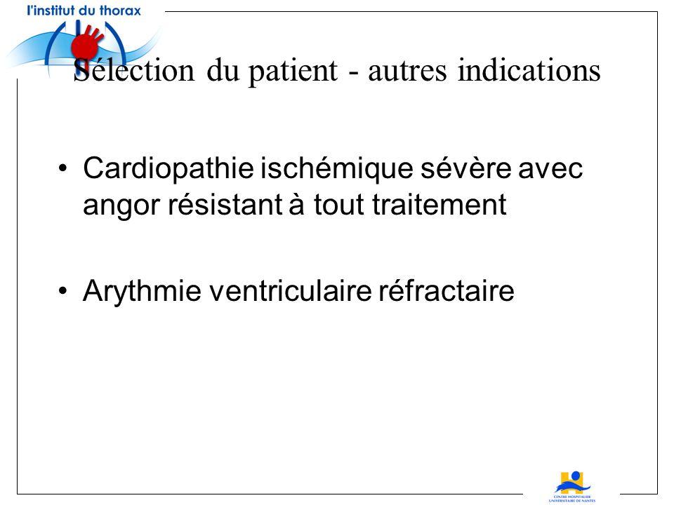 Sélection du patient - autres indications