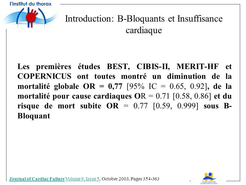 Introduction: B-Bloquants et Insuffisance cardiaque