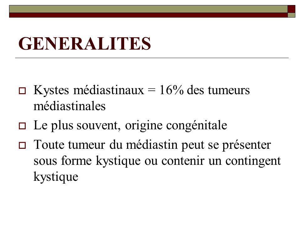 GENERALITES Kystes médiastinaux = 16% des tumeurs médiastinales