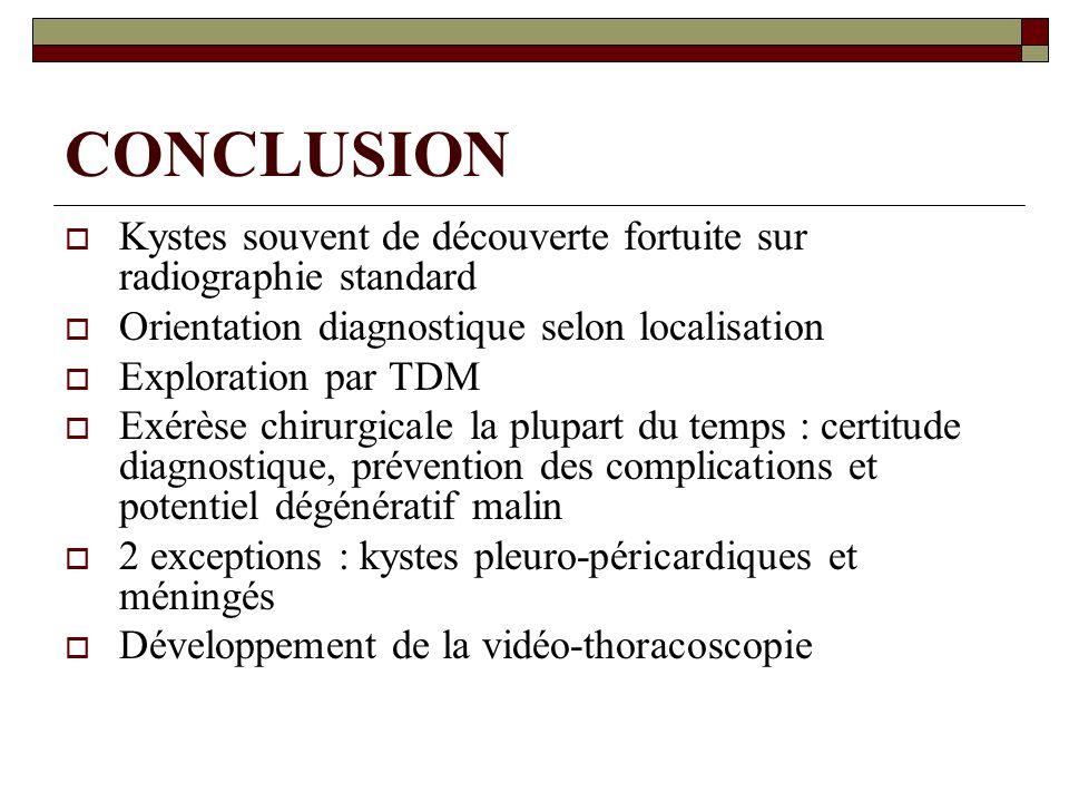 CONCLUSION Kystes souvent de découverte fortuite sur radiographie standard. Orientation diagnostique selon localisation.