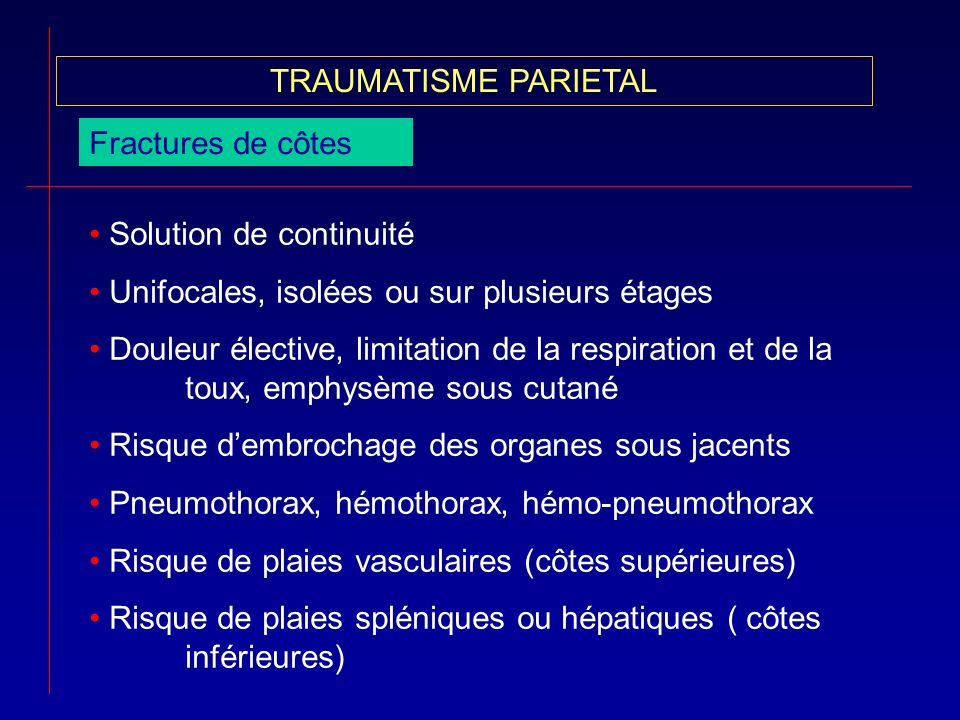 TRAUMATISME PARIETALFractures de côtes. Solution de continuité. Unifocales, isolées ou sur plusieurs étages.