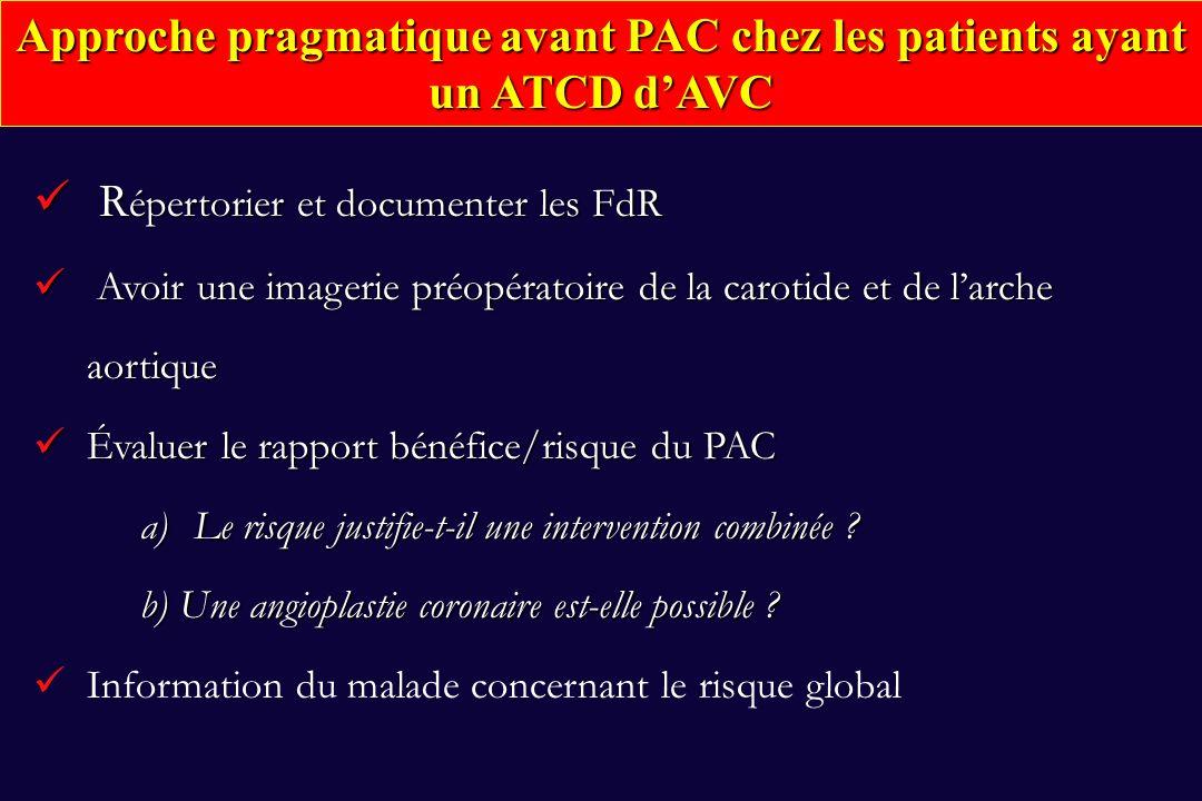 Approche pragmatique avant PAC chez les patients ayant un ATCD d'AVC