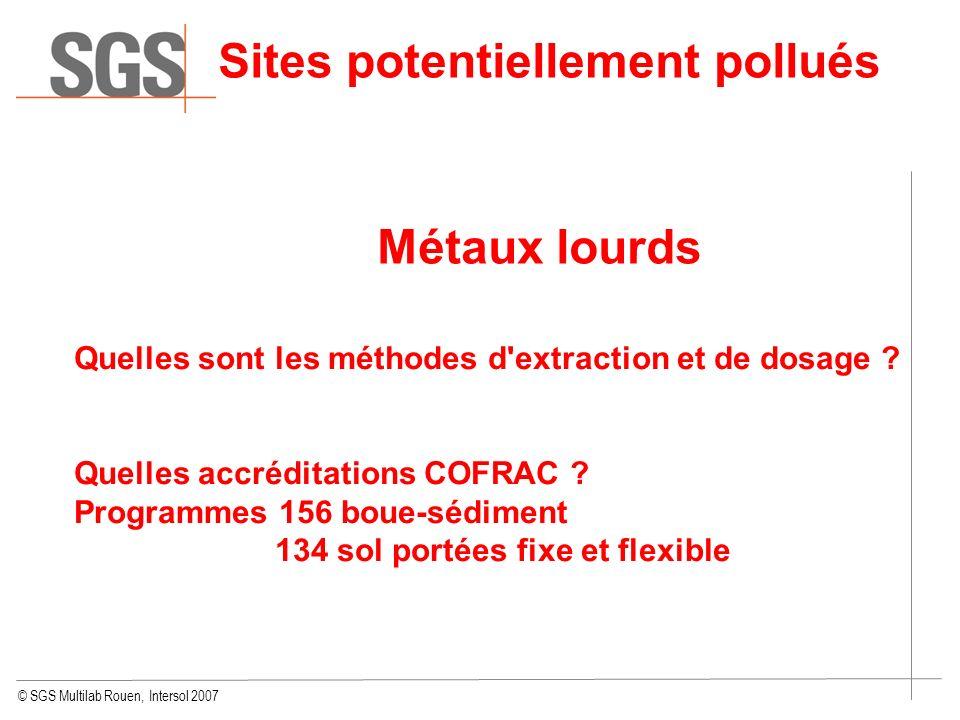 Sites potentiellement pollués Métaux lourds