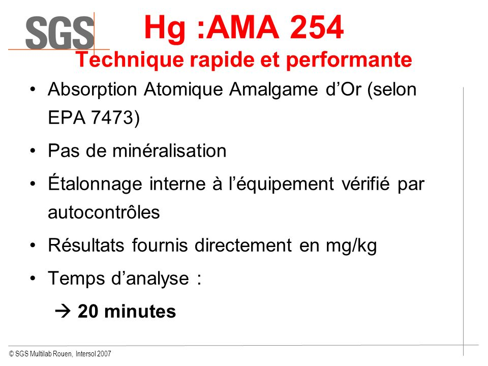 Hg :AMA 254 Technique rapide et performante