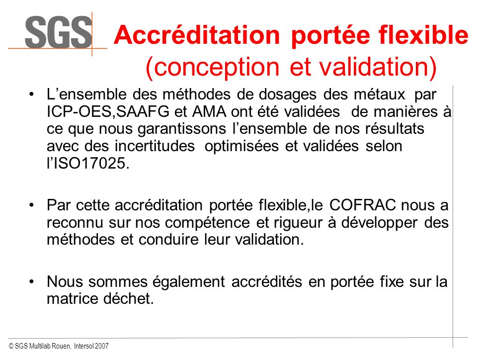 Accréditation portée flexible (conception et validation)