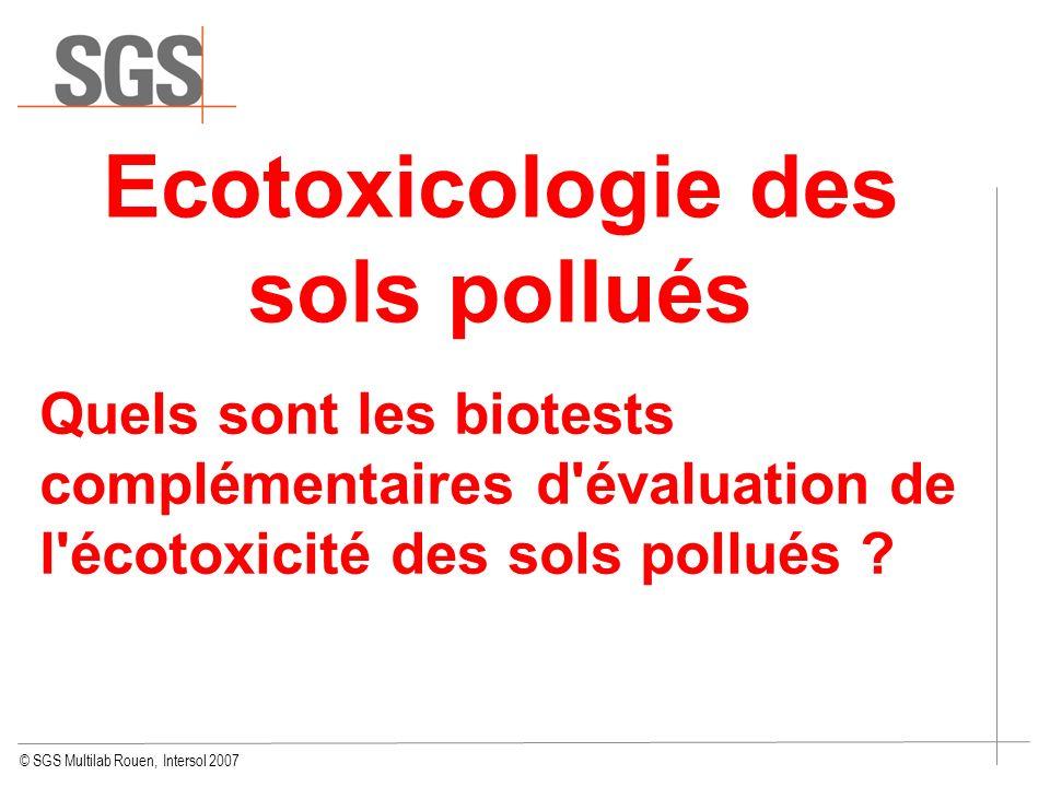 Ecotoxicologie des sols pollués