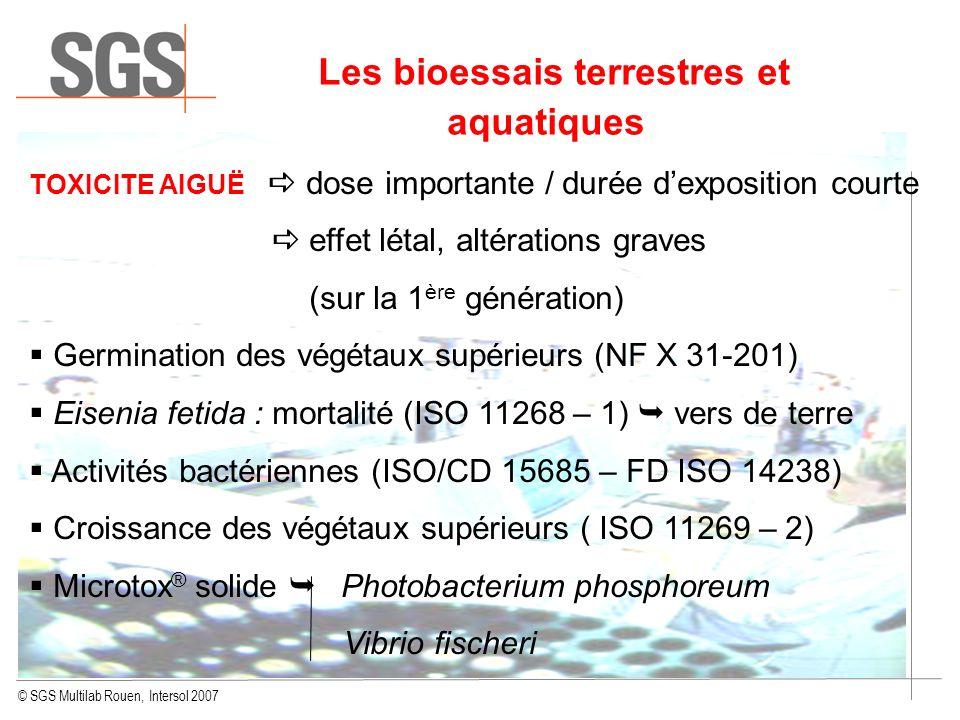 Les bioessais terrestres et aquatiques