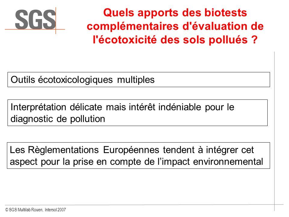 Quels apports des biotests complémentaires d évaluation de l écotoxicité des sols pollués