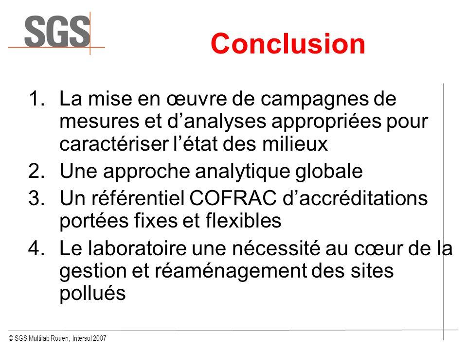 Conclusion La mise en œuvre de campagnes de mesures et d'analyses appropriées pour caractériser l'état des milieux.