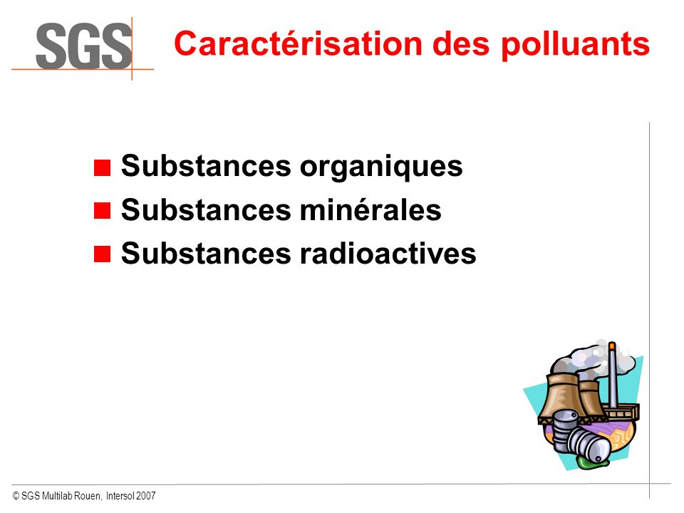 Caractérisation des polluants