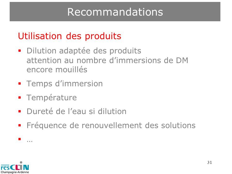 Recommandations Utilisation des produits Dilution adaptée des produits