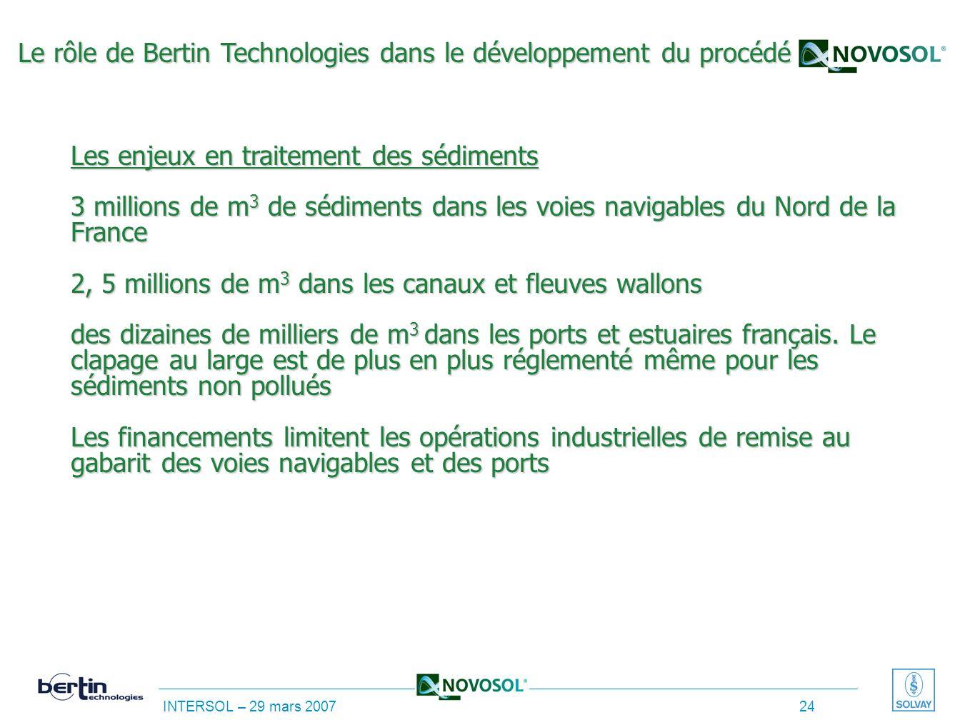 Le rôle de Bertin Technologies dans le développement du procédé Les enjeux en traitement des sédiments 3 millions de m3 de sédiments dans les voies navigables du Nord de la France 2, 5 millions de m3 dans les canaux et fleuves wallons des dizaines de milliers de m3 dans les ports et estuaires français.