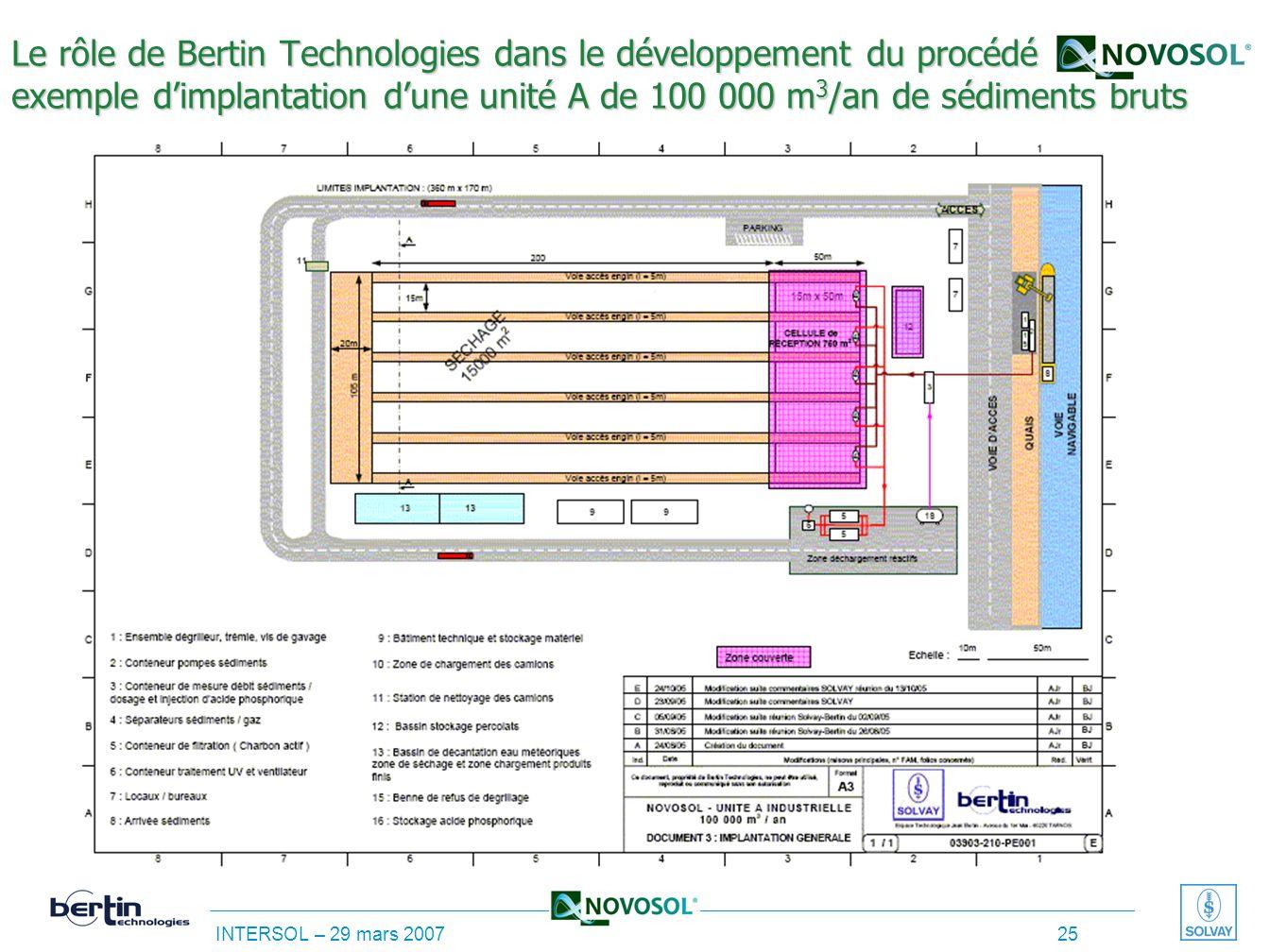 Le rôle de Bertin Technologies dans le développement du procédé exemple d'implantation d'une unité A de 100 000 m3/an de sédiments bruts