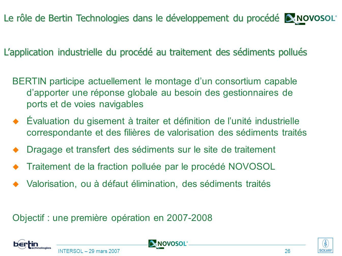 Le rôle de Bertin Technologies dans le développement du procédé L'application industrielle du procédé au traitement des sédiments pollués