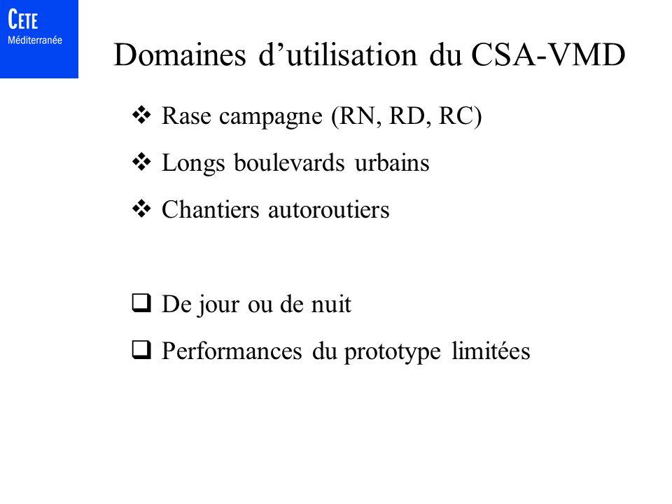 Domaines d'utilisation du CSA-VMD