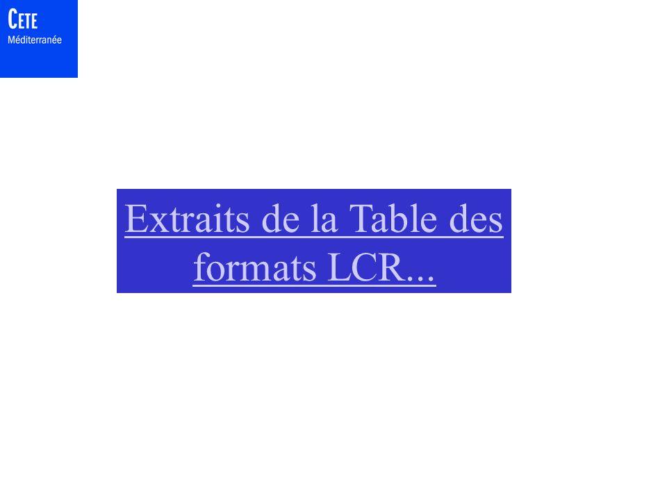 Extraits de la Table des formats LCR...