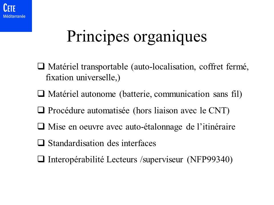 Principes organiques Matériel transportable (auto-localisation, coffret fermé, fixation universelle,)