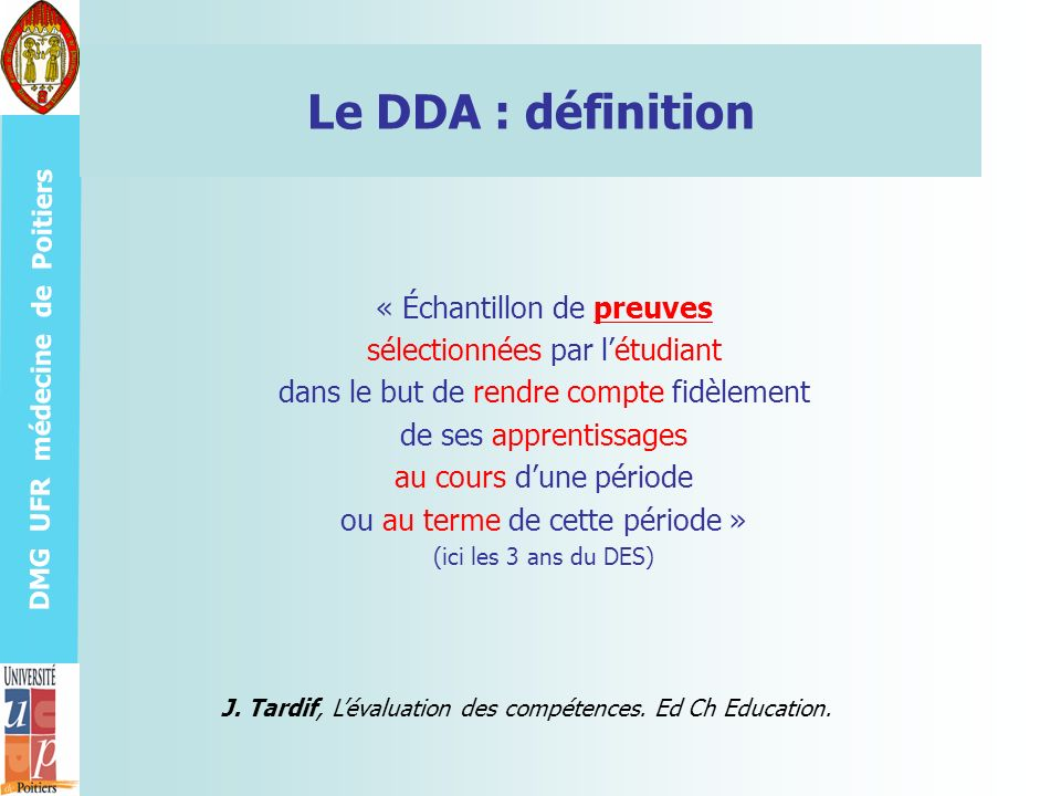 Le DDA : définition « Échantillon de preuves