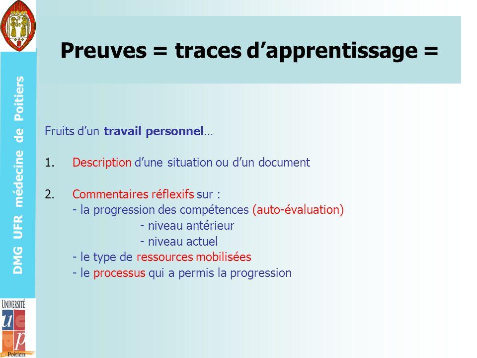 Preuves = traces d'apprentissage =