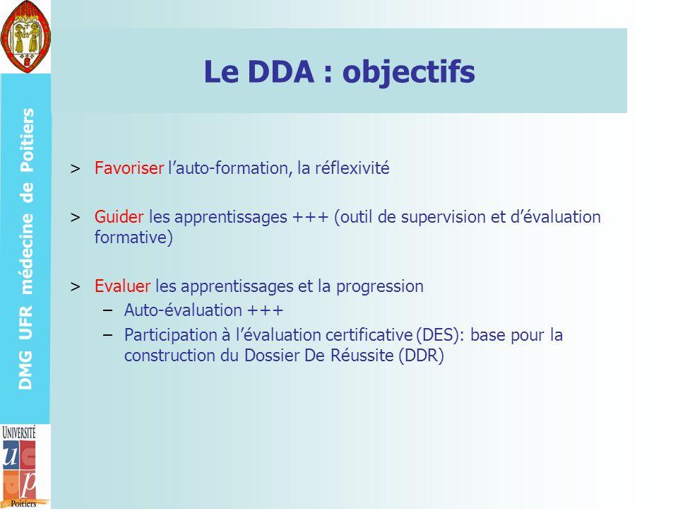 Le DDA : objectifs Favoriser l'auto-formation, la réflexivité
