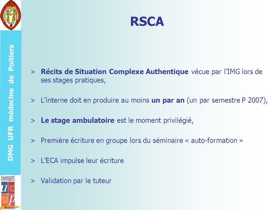 RSCA Récits de Situation Complexe Authentique vécue par l'IMG lors de ses stages pratiques,