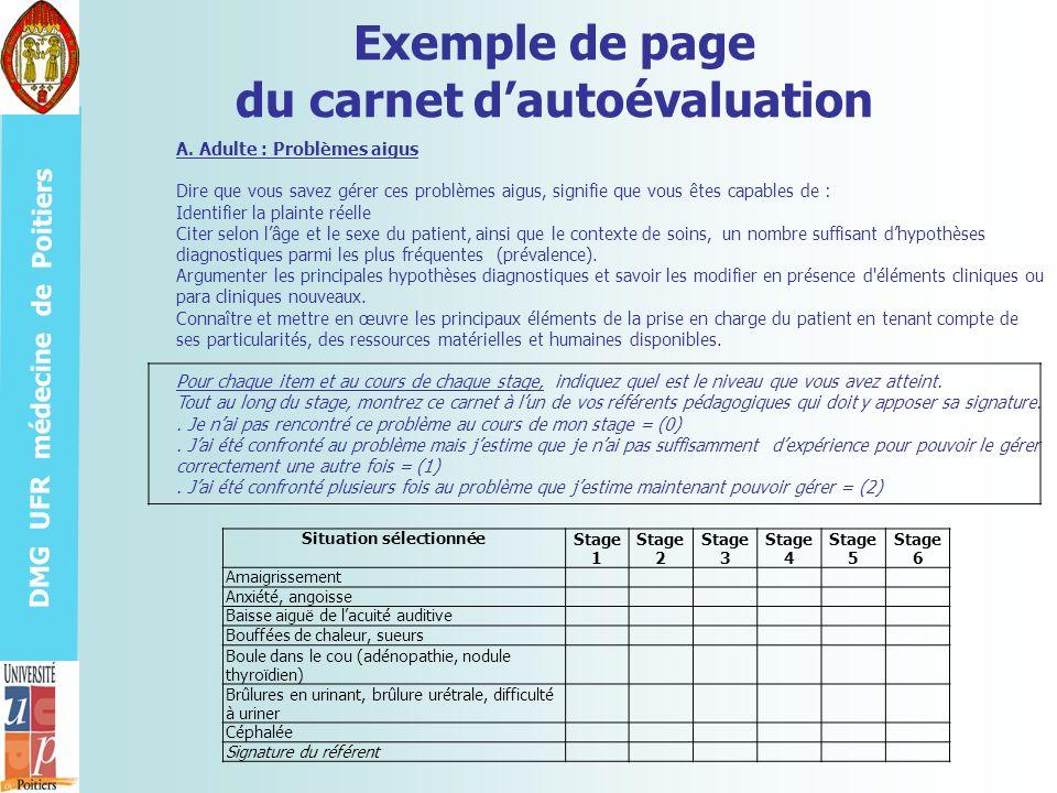 Exemple de page du carnet d'autoévaluation