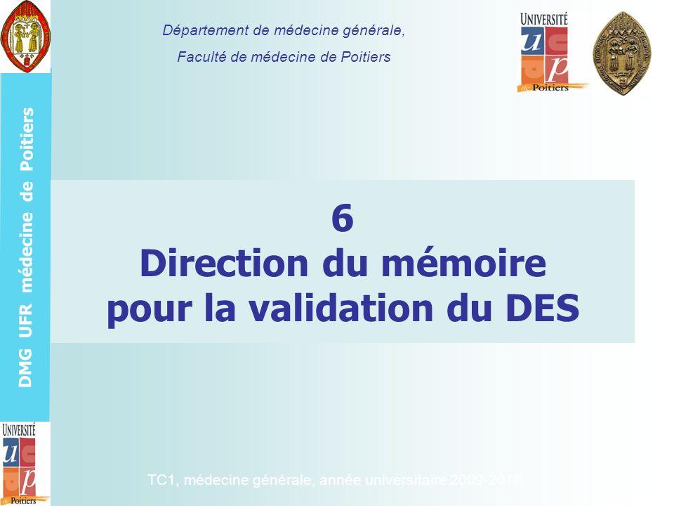 6 Direction du mémoire pour la validation du DES