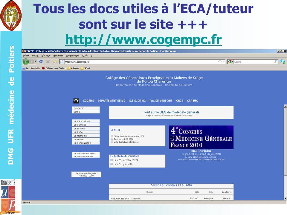Tous les docs utiles à l'ECA/tuteur sont sur le site +++ http://www