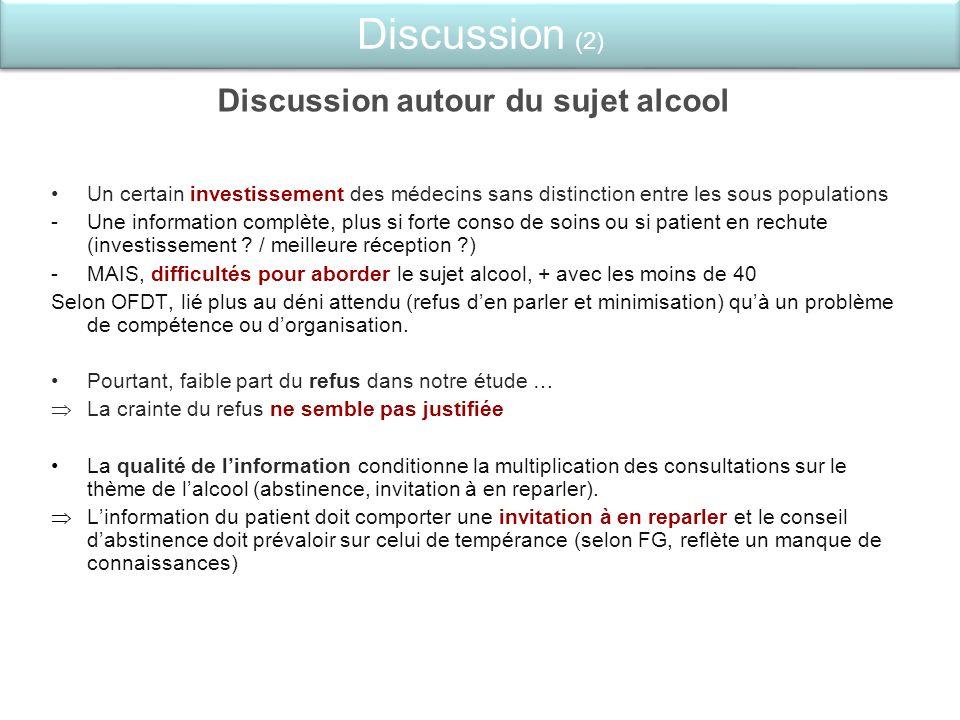 Discussion (2) Discussion autour du sujet alcool