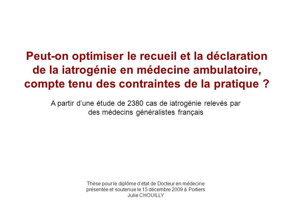 Peut-on optimiser le recueil et la déclaration de la iatrogénie en médecine ambulatoire, compte tenu des contraintes de la pratique