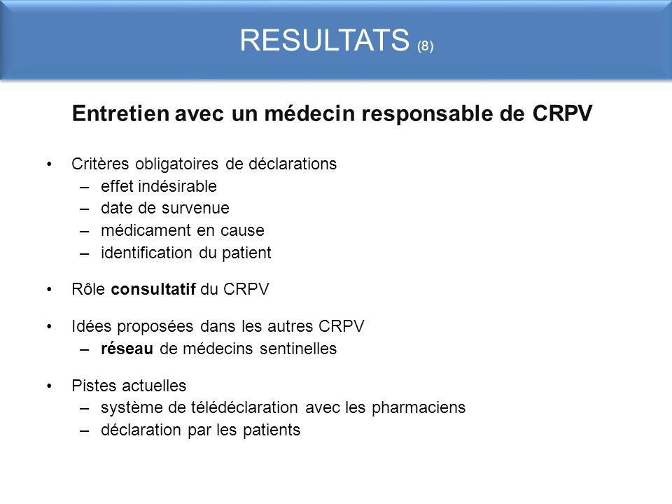 Entretien avec un médecin responsable de CRPV