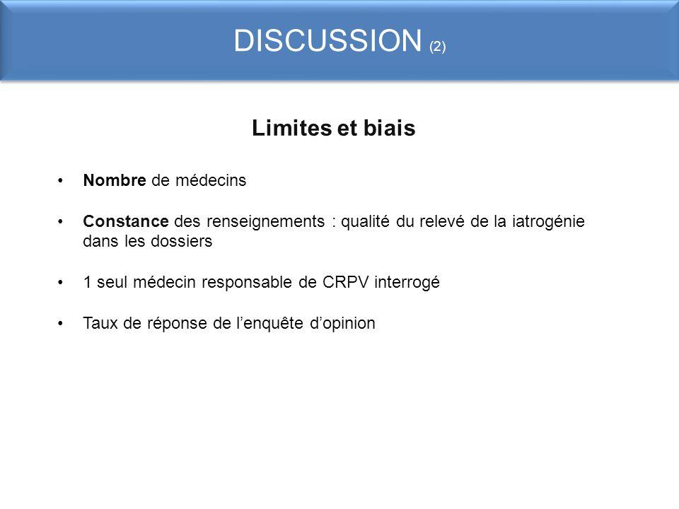 DISCUSSION (2) Limites et biais Nombre de médecins