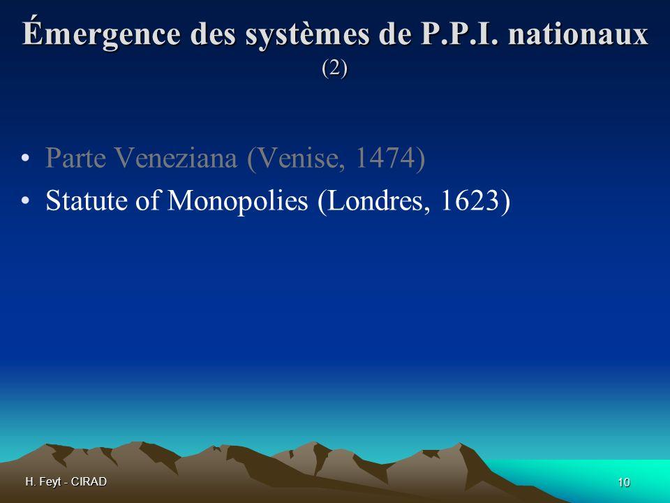 Émergence des systèmes de P.P.I. nationaux (2)