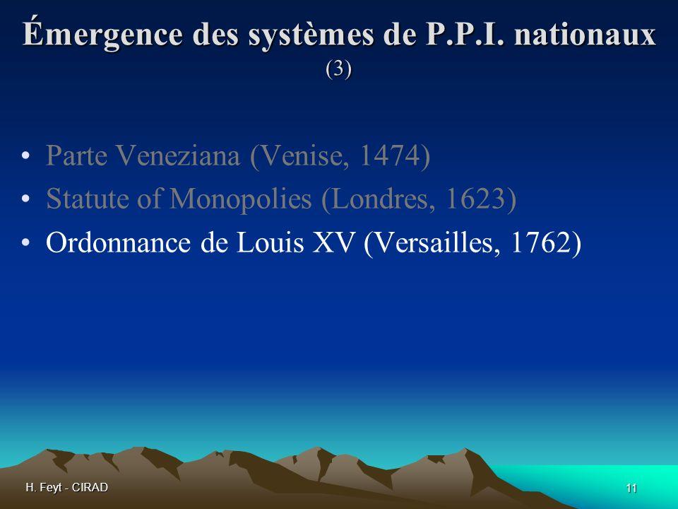 Émergence des systèmes de P.P.I. nationaux (3)