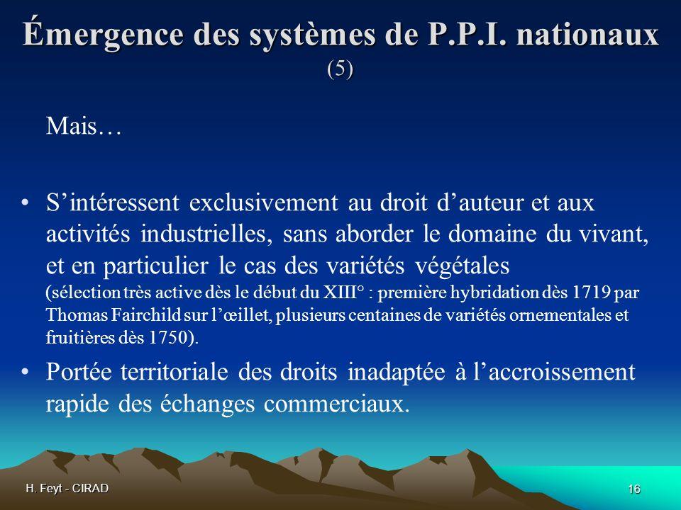 Émergence des systèmes de P.P.I. nationaux (5)