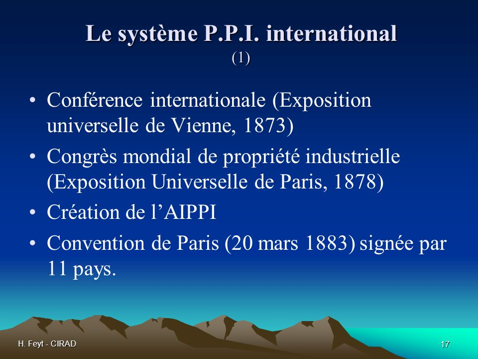 Le système P.P.I. international (1)
