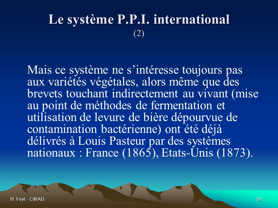 Le système P.P.I. international (2)