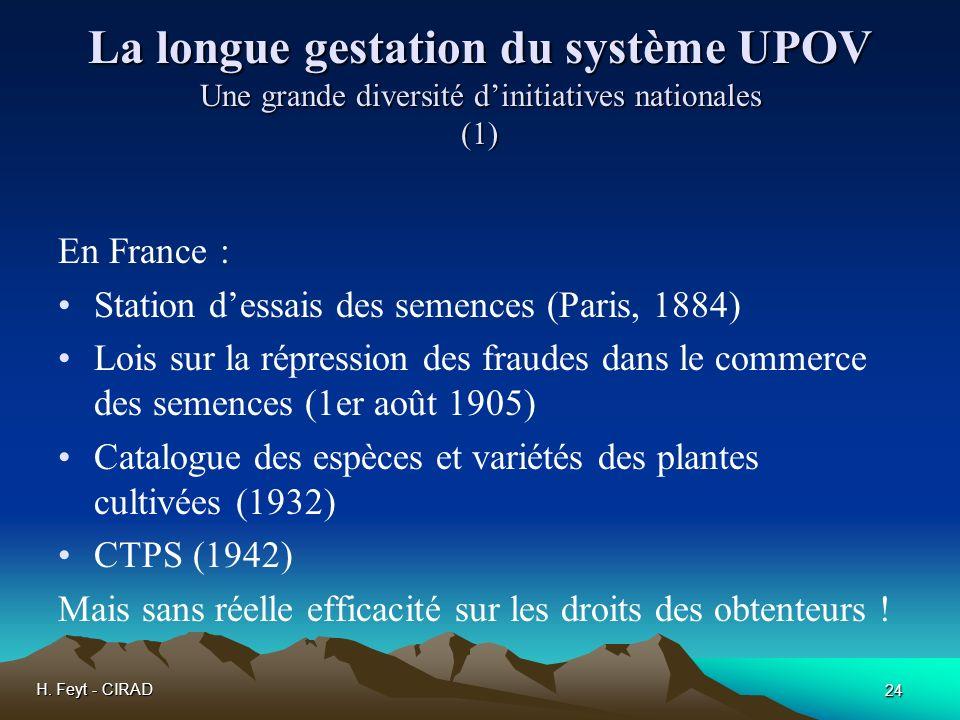 La longue gestation du système UPOV Une grande diversité d'initiatives nationales (1)
