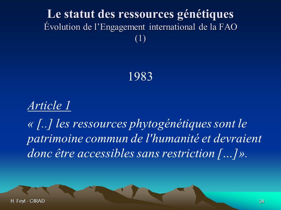 Le statut des ressources génétiques Évolution de l'Engagement international de la FAO (1)