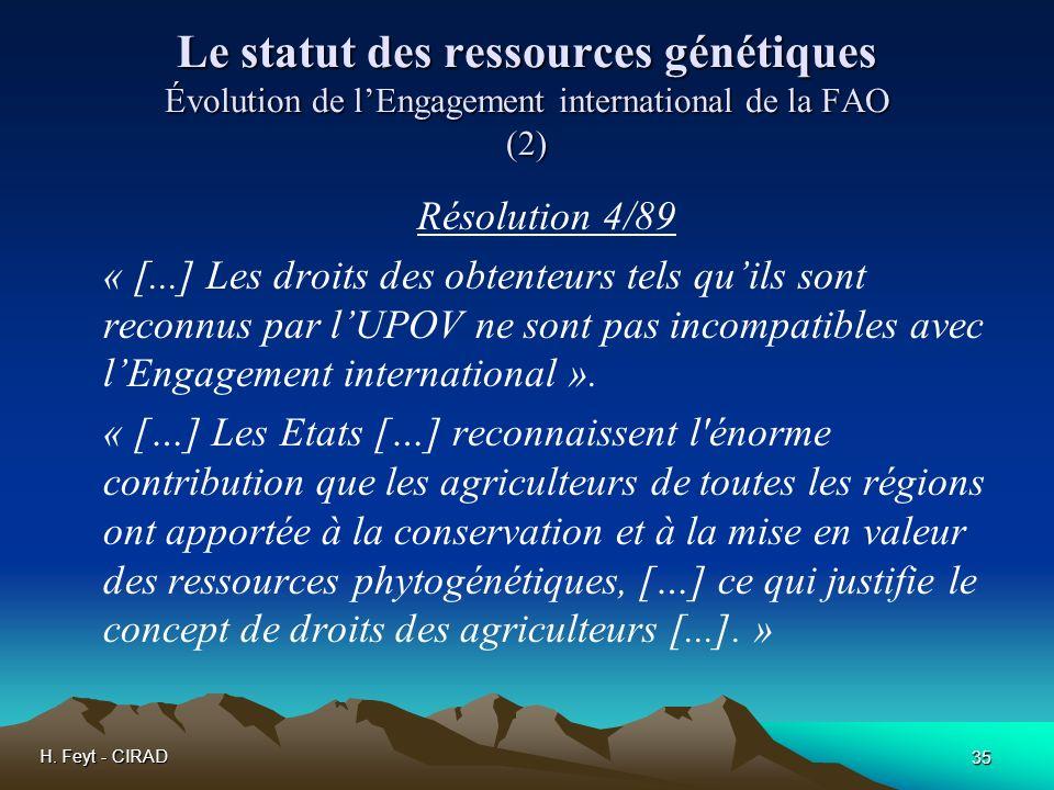 Le statut des ressources génétiques Évolution de l'Engagement international de la FAO (2)