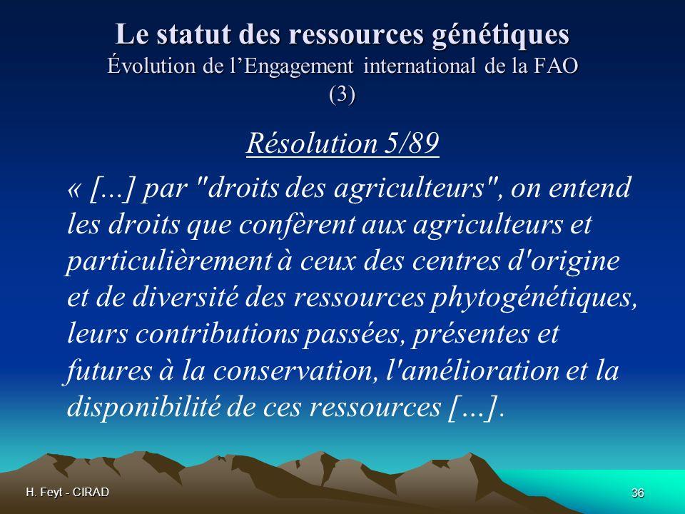 Le statut des ressources génétiques Évolution de l'Engagement international de la FAO (3)