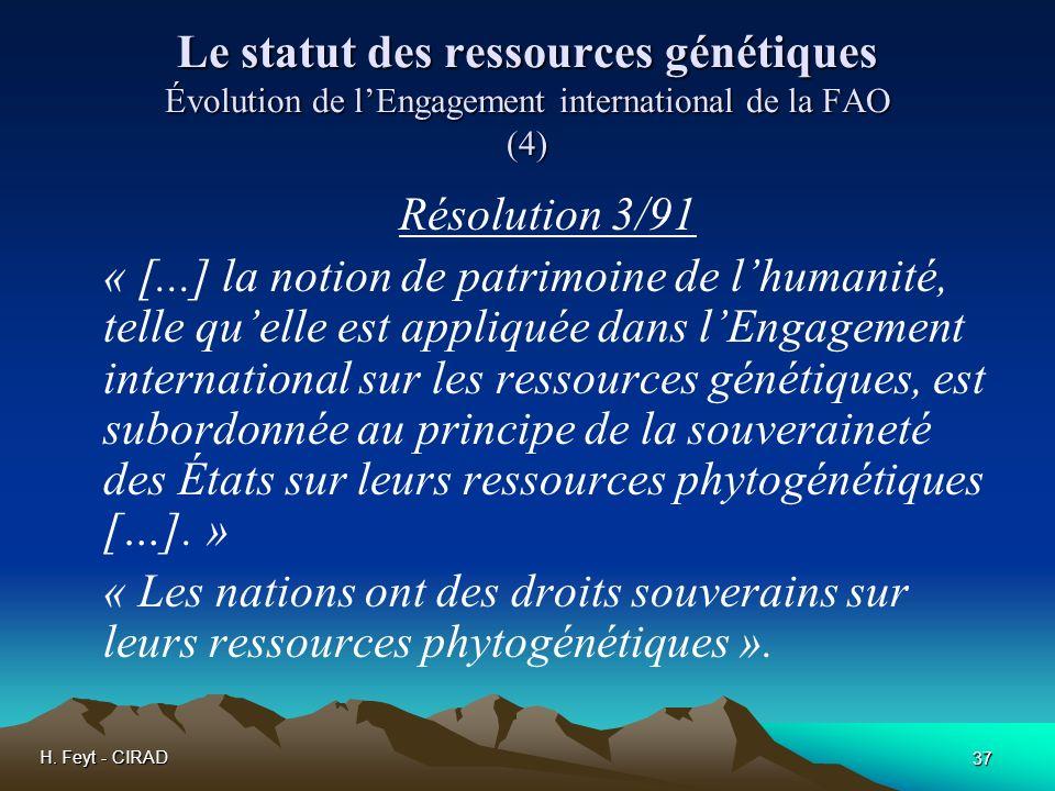 Le statut des ressources génétiques Évolution de l'Engagement international de la FAO (4)