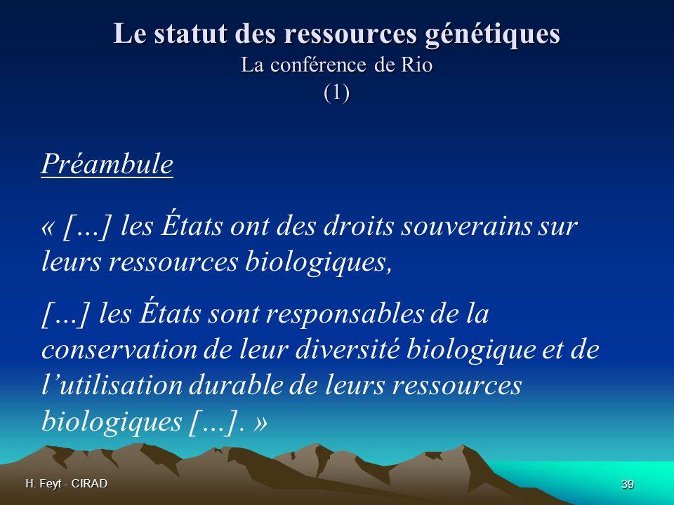 Le statut des ressources génétiques La conférence de Rio (1)