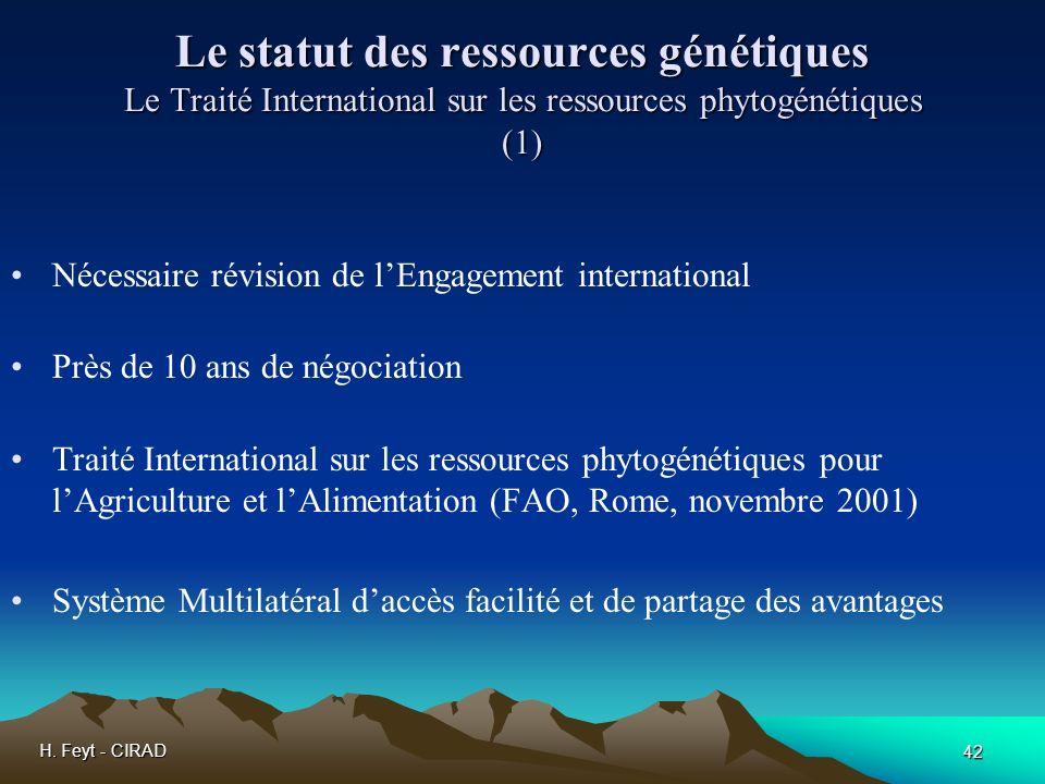 Le statut des ressources génétiques Le Traité International sur les ressources phytogénétiques (1)